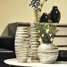 Black and white various vase sizes