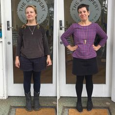 Me Made May week 3. Today Jane is wearing @deer_and_doe_patterns #ddchataigne shorts and @grainlinestudio #hemlocktee and Cake Patterns merino leggings. Fiona is wearing @lottajansdotter #lottaeverydaystyle #esmetunic (shirt length!) and @grainlinestudio #mossmini. #mmm16 by thedrapery