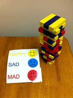Feelings Jenga for preschoolers