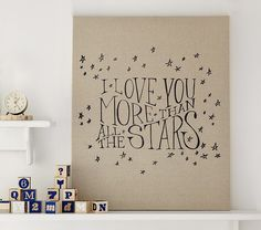 Stars Linen Canvas Nursery Art | Pottery Barn Kids