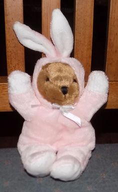 "7"" Galerie PINK & WHITE Bunny Rabbit Outfit Costume PLUSH Brown Bear 30 #Galerie"