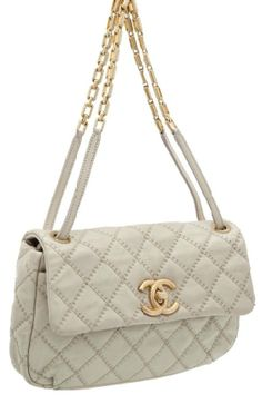 Chanel Rare Pearl Grey Distressed Leather Single Flap Bag with Antique Gold Hardware