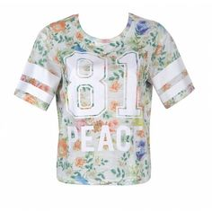 Ally Fashion Floral print varsity tee ($11) ❤ liked on Polyvore featuring tops, t-shirts, shirts, print, floral top, shirts & tops, floral print shirt, floral print t shirt and print t shirts