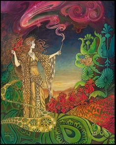 Queen of Wands: Tarot card reading for Future:  By following the advice of a close female influence, you will achieve success. Your home-life will be fulfilling and without intense conflicts. You and your loved ones will be content with your environment.   source:  Psychedelic Gypsy Goddess Tarot Art 11x14 Print                                                                                                                                                                                 Más
