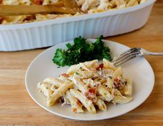 Chicken Bacon Ranch Baked Penne is filled with all things comforting. Penne pasta, creamy Alfredo, lots of gooey cheese and bacon. Cooking Recipes For Dinner, Dinner Recipes Easy Quick, Quick Dinner Recipes, Easy Chicken Recipes, Recipe Chicken, Pasta Recipes, Meal Recipes, Easy Dinners, Casserole Recipes