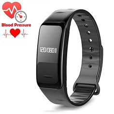 Blood Pressure Bracelet Oxygen Fitness Tracker,IP67 Waterproof Smart Watch Heart Rate monitor Sleeping Management Pedometer,OLED Touch Screen for Android iOS (Black) * You can get more details by clicking on the image.