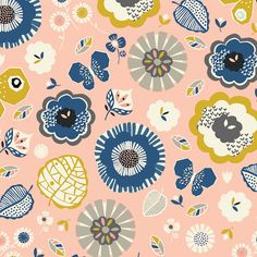 Dashwood studio fabric September Blue Floral pink 100% cotton quilting craft