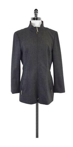 Escada Grey Wool Blend Zip Jacket