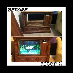 We made a old TV into a fish tank :)