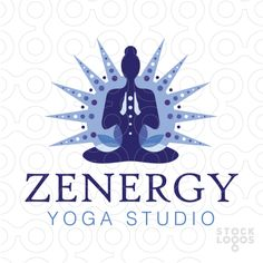 Modern, clean and powerful logo design depicting a figure posing with their hands, a blooming lotus flower surrounds the sitting yoga figure. A powerful and vibrant sun ray burst surrounding the a meditating yoga figure.