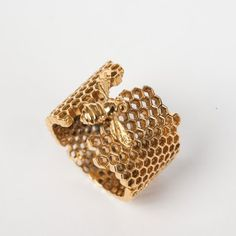 Bee and Honeycomb Ring (Gold) | Bowerbird
