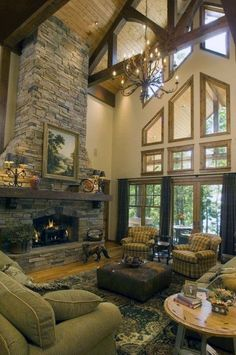 Unique Stacked Stone Fireplace Home Ideas Stacked Stone Fireplaces, Rustic Fireplaces, Home Fireplace, Fireplace Design, Fireplace Ideas, Two Story Fireplace, Fireplace Stone, Rock Fireplaces, Family Room Design