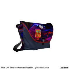 Neon Owl Thunderstorm Flash Messenger Bag