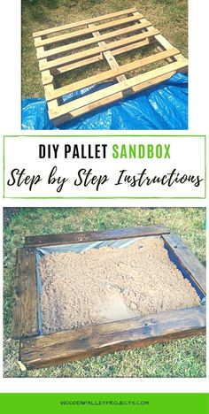Learn how to make a DIY pallet sandbox. This easy tutorial will show you how to build one step by step. Cute idea for kids from upcyled pallets that is great for warm, sunny days in the garden. Pallet Sandbox, Pallet Decking, Diy Pallet Projects, Projects For Kids, Home Projects, Diy Step By Step, Step By Step Instructions, Outdoor Ideas, Outdoor Decor