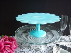Lovely  Turquoise Blue Milk Glass Cake Stand - Rare Color EAPG on Etsy, $220.00