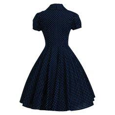 1c97450b2f4 Plus Size Navy Polka Dot Dress Vintage Style Dress 50s Dress Party Dress  Retro Party Dress
