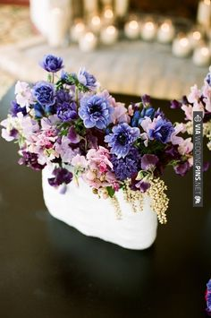 purple floral arrangement by The Oak And The Owl   CHECK OUT MORE IDEAS AT WEDDINGPINS.NET   #weddings #weddingflowers #flowers