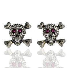 Diamond Pave Skull, Diamond Pave skull earring studs with pink sapphire eyes