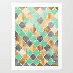画像1: Charcoal, Mint, Wood & Gold Moroccan Pattern by Micklyn