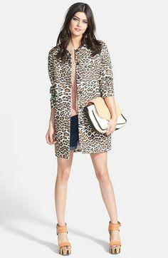 Maison Scotch Leopard Print Car Coat | Nordstrom