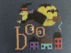 completed cross stitch Lizzie Kate Halloween witch BOO
