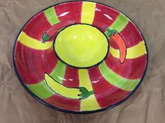 Painstakingly painted! Gorgeous chip and dip bowl