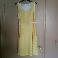 Yellow polka dots dress Worn once Kasper Dresses