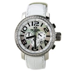 TW Steel TW54 Unisex Grandeur MOP Dial White Leather Strap Chronograph Diamond Watch