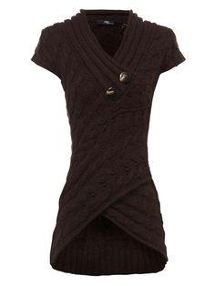 chocolate short sleeve assymetric sweater