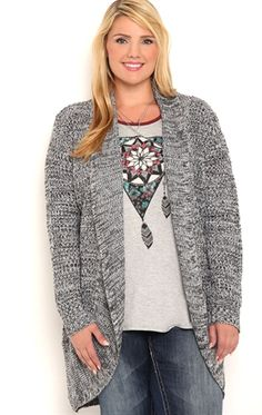 Deb Shops Plus Size Long Sleeve Marled Knit Cozy with Shawl Collar $22.00