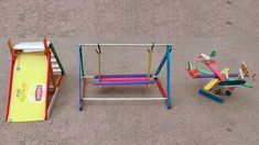 3 DIY Popsicle Sticks Playground Toys : How to make Watch this video: www. 3 DIY Popsicle S Diy Playground, Natural Playground, Diy Popsicle Stick Crafts, Popsicle Sticks, Easy Crafts, Easy Diy, Crafts For Kids, Pop Sicle, Diy Barbie Furniture