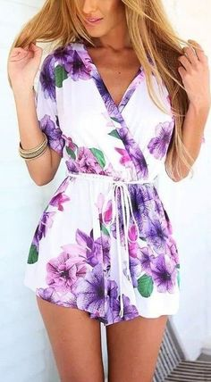 #summer #seaside #outfits   White Floral Drawstring Plunging Neckline Casual Cotton Short Jumpsuit
