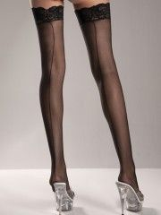 Sheer Lace Top Thigh Highs $3.99  Available in Black, Nude, Red or White. Shop now at http://sassygirllingerie.com/products-page/thigh-highs/sheer-lace-top-thigh-highs-bw599