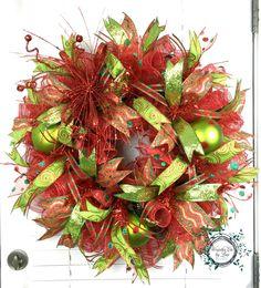 Christmas Deco Mesh Wreath - Christmas - Wreath - Decor - Door Decor - Red - Green - Home Decor by WreathsEtcbyLisa on Etsy