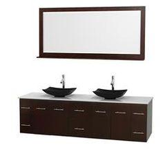 80 in. Double Bathroom Vanity in Espresso, White Man-Made Stone Countertop, Arista Black Granite Sinks, and 70 in. Mirror