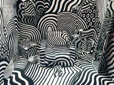 Dazzle Room by Shigeki Matsuyama Arte Linear, Dazzle Camouflage, Damier, Work Inspiration, Art Plastique, Fractal Art, Installation Art, Event Design, Animal Print Rug