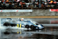 Japanese Grand Prix, 1976. Jody Scheckter with the Tyrrell 34 in the wet. He eventually retired with engine trouble.