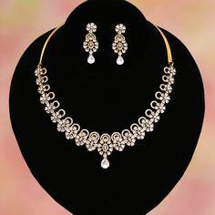 Polished Rhodium Plated over Brass - / - Custom Jewelry Ideas Indian Jewelry Sets, Bridal Jewelry Sets, Wedding Jewelry, Wedding Wear, Diamond Necklace Set, Circle Necklace, Small Necklace, Diamond Jewelry, Jewelry Necklaces