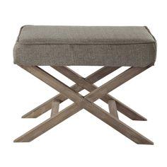 Hocker TOURGEVILLE aus Stoff und Holz, grau meliert, 79,99€