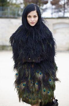 Leigh Lezark | Peacock Feathered Coat