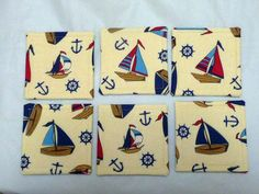 Nautical Coasters approximately 4 X 4 Cotton by PawsInProfile