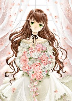 Rose memory princess with long wavy brown hair, gren eyes, white dress, & pink flower bouquet by manga artist Shiitake.