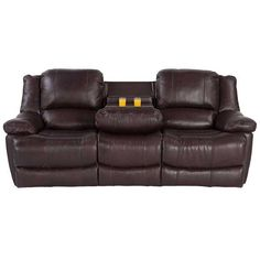 Leather Reclining Sofa with Drop Table