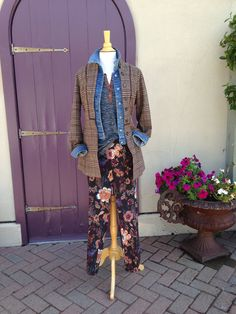 Fall brown plaid faux layered denim jacket with blue henry tee and floral up pants