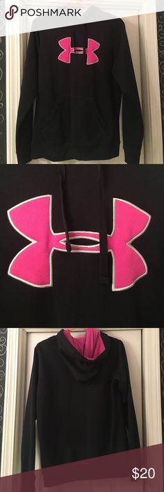 Under Armour Sweatshirt Black sweatshirt with pink under armour logo on front. In great condition!! Under Armour Jackets & Coats