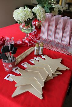 """""""Hollywood Walk of Fame"""" star craft station for movie-themed birthday party."""