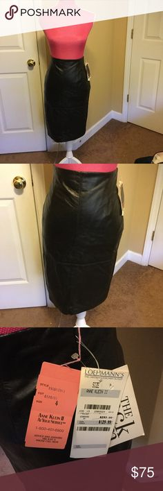 Anne Klein Skirt. All black genuine leather skirt. Super soft and stylish. Great quality. Good condition. Offers welcome! Anne Klein Skirts Midi