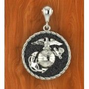 "1"" Tall Solid Sterling USMC Eagle Globe and Anchor Necklace"