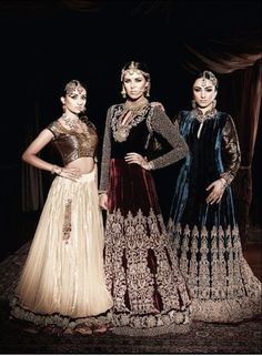 regal indian fashion - especially love the wine and midnight numbers! Wonder if its velvet, or crystal organza-like silk?
