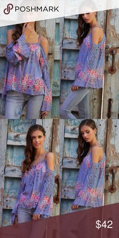 PREORDER Boho Periwinkle Crochet Top This amazing crocheted top is a must have.  Peek A Boo shoulders and crochet on the sleeves. Tops Blouses